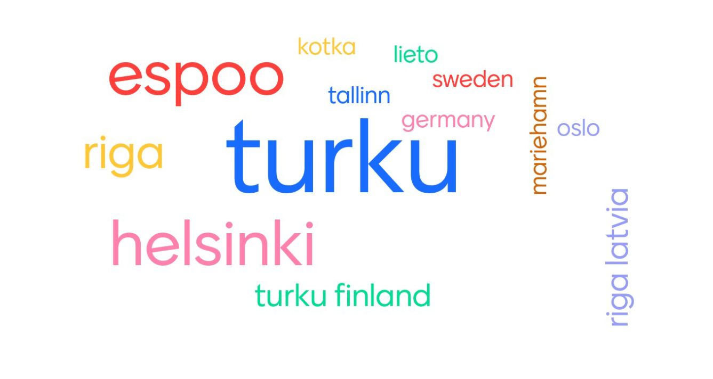 Word cloud of locations of webinar participants