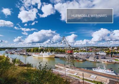 "Image of City of Turku port area with text ""HUPMOBILE webinars"""