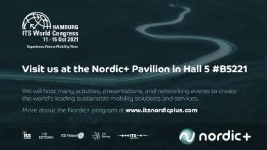 Banner of the Nordic+ Pavilion at the ITS World Congress 2021