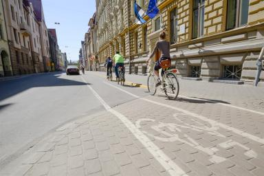 Cyclists on the cycle lane in a city